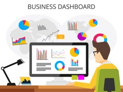 Business analyst. Professional business man analyzing business growth by business dashboard. Marketing research concept flat design for web banner , web element , or book cover