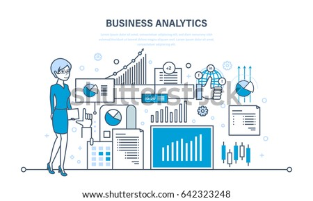Business analytics, data analysis and research, strategy statistic and planning, marketing, study of performance indicators. Illustration thin line design of vector doodles, infographics elements.