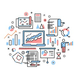 Business analytics, data research, presentation concept. Modern thin line icons art work collage. Linear illustration isolated on white background.
