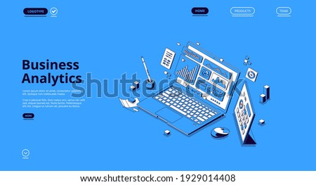 Business analytics isometric landing page. Financial marketing, online trading and investment, automation. Laptop with digital analysis data charts, statistics diagrams, 3d vector line art web banner