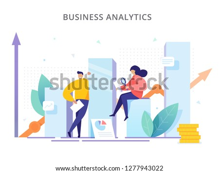 Business Analytics - vector illustration. People are near the graphs and analyze company performance. Creative concept of strategy, successful result and profit growth.