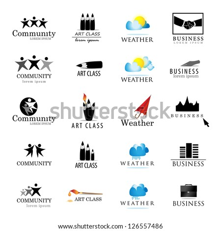 Business And Art Symbols Isolated On White Background. Vector illustration, Graphic Design - Elements For Your Design. Business Logo