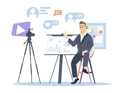Business and entrepreneurship blog flat vector illustration. Marketer, financial advisor, business coach, trainer isolated cartoon character. Businessman, entrepreneur streaming on white background