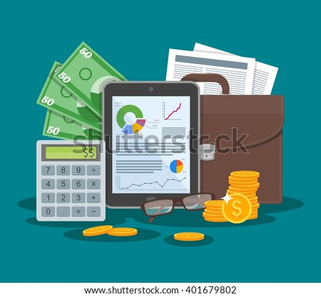 Business and finance concept vector illustration in flat style design. Tablet with financial graphs and charts. Briefcase, calculator, money, paper sheet.