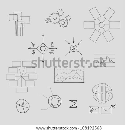 business and finance elements. Hand-drawn - stock vector