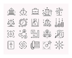 Business and finance, Financial analytics. Set of vector linear icons.