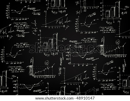 Business and finance graphs on blackboard background. (Vector, seamless). - stock vector