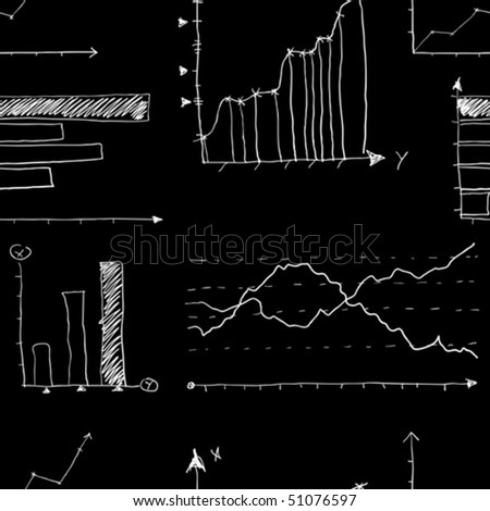 Business and finance graphs written by chalk on blackboard background. (Vector, seamless). Pattern swatch for illustrator 8.0