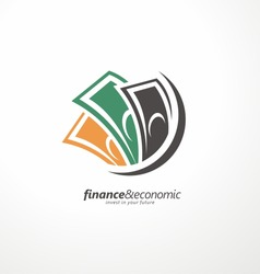 Business and finance icon, abstract bills, currency