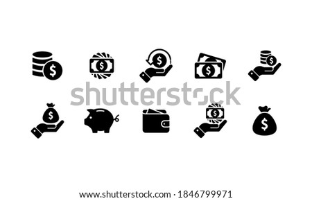Business and finance icon. Dollar coin vector, credit card, wallet, money bag, piggy bank, investment, stack, receipt, any currency, cash, cashbox. Foto stock ©