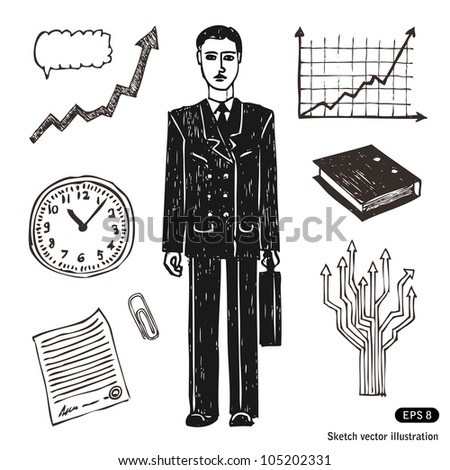 Business and finance icon set. Businessman. Hand drawn sketch illustration isolated on white background