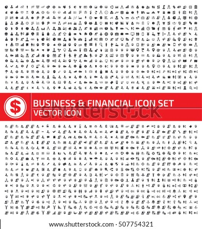 Business and finance icon set,clean vector #507754321