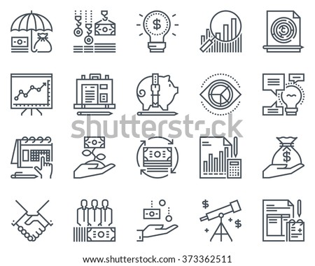 Business and finance icon set suitable for info graphics, websites and print media. Black and white flat line icons. - Shutterstock ID 373362511