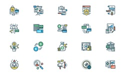 Business and Finance icons, filled outline style