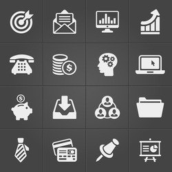 Business and finance icons on black set 2. Vector illustration