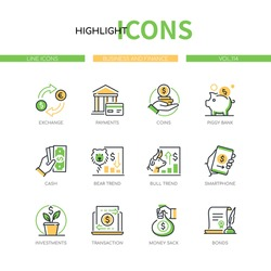 Business and finance - line design style icons set. Banking and financial management idea. Exchange, payments, coins, piggy bank, cash, bear and bull trend, smartphone, investments, bonds, money sack