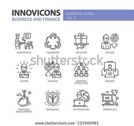 Business and Finance - modern vector thin line design icons set. Teamwork, solution, failure, success, company structure, resume, insurance, outsourcing, work place, conference, leader