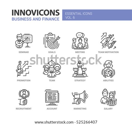 Business and Finance - modern vector thin line flat design icons and pictograms set. Seminar, goals, motivation, promotion, team, strategy, abilities, recruitment, account, marketing salary