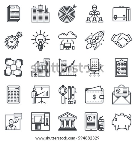 Business and Finance Outline Icon Set.