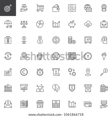 Business and finance outline icons set. linear style symbols collection, line signs pack. vector graphics. Set includes icons as ATM, Safe Box, Money, Credit card, Bank building, Economy, Contract #1061866718