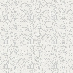 Business and finance seamless pattern. Background with line icons for business theme. Vector illustration.
