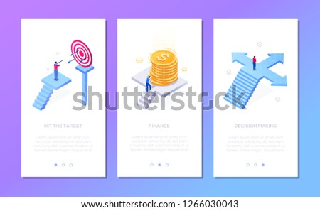 Business and finance - set of isometric vector vertical web banners with copy space for text. Businessman hitting target, with coins stack, on the crossroads. Financial success, decision making theme