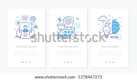 Business and finance - set of line design style vertical web banners with copy space for text. Images of a CV, hourglass, calendar, lightbulb, brain. Human resources, time management, brainstorming