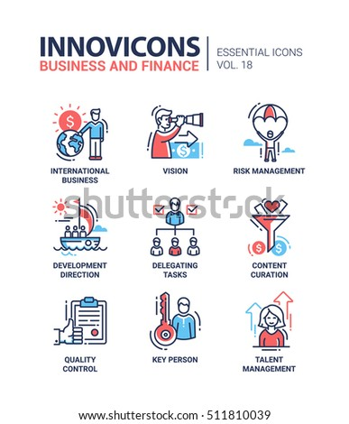 Business and finance - set of modern vector thin line flat design icons and pictograms. Vision, risk management, development, delegating, content curation, quality control, key person