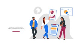 Business and finance topic website banner template with business people leading presentation or making financial report. Financial statistics and analytics web page, flat vector illustration.