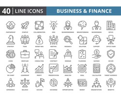 Business and finance vector line icons pack. Simple thin lines quality icon for web elements. Related of financial, people, strategy, management and etc