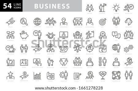 Business and finance web icon set - outline icon collection, vector