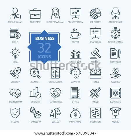 Business and finance web icon set - outline icon collection, vector - Shutterstock ID 578393347