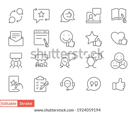 Business and finance web line icon set. Testimonials, customer relationship management or CRM concept. Simple outline style symbol collection. Vector illustration isolated. Editable stroke EPS 10.
