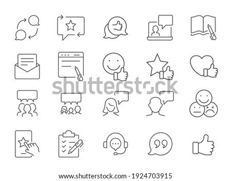 Business and finance web line icon set. Testimonials, customer relationship management or CRM concept. Simple outline style symbol collection. Vector illustration isolated on white background. EPS 10.