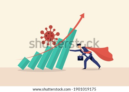 Business and financial stock market crisis from coronavirus covid-19. Overcoming the crisis with the help of businessman. Graph falling in economic collapse from covid pathogen.Vector illustration. ストックフォト ©