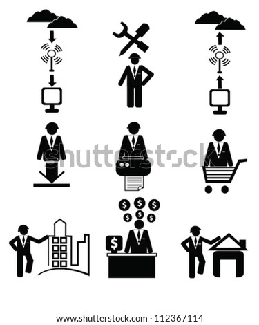 Business and human resource concept, icon set,Vector - stock vector