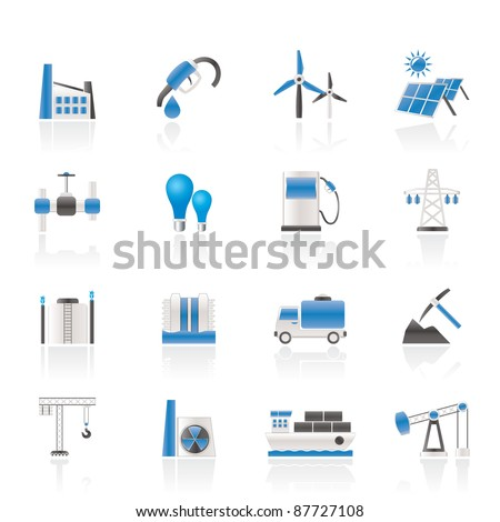 Business and industry icons - vector icon set - stock vector