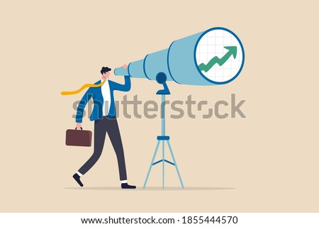 Business and investment vision to see ahead future return or ability to see opportunities for work and career concept, smart businessman investor look into huge telescope to see rising up green graph. Сток-фото ©