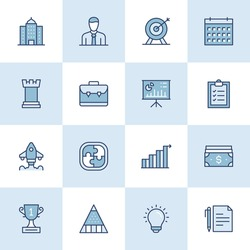 Business And Management Flat Style Outline Icons. Modern Linear Thin Icons for Professional Web Design, Mobile App Design, Infographics and so on