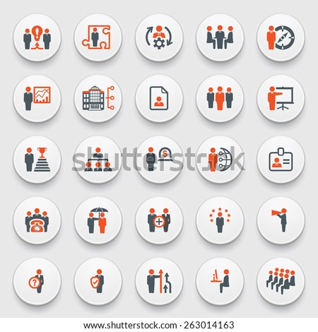 Business and management icons on white buttons. Flat design.