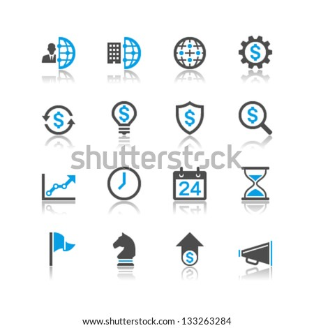 Business and management icons reflection theme