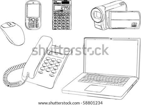business and media tools - illustrated - stock vector