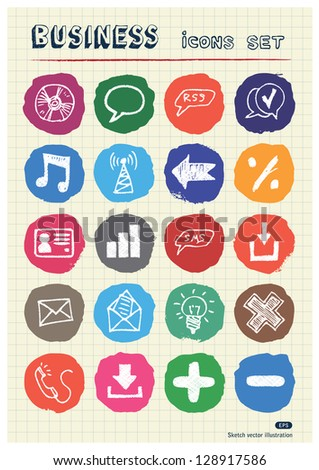 Business and media web icons set drawn by chalk. Hand drawn vector elements pack isolated on paper