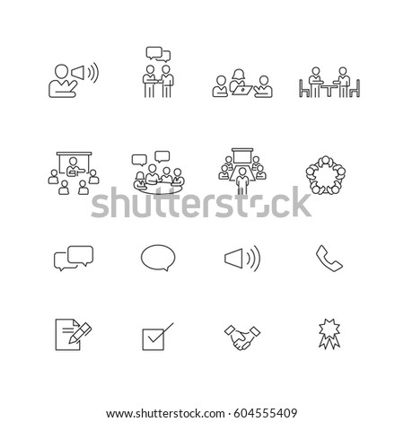 Business and Meeting icons set,Vector