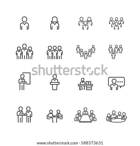 Business and meeting set icons,Vector