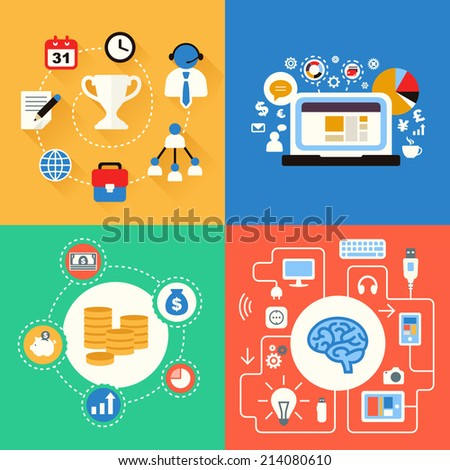 Business and modern technologies concepts icon set