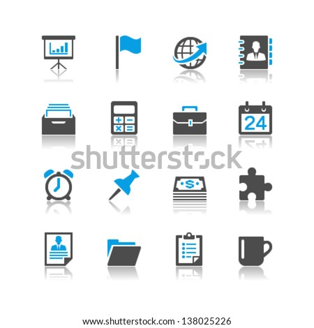 Business and office icons reflection theme