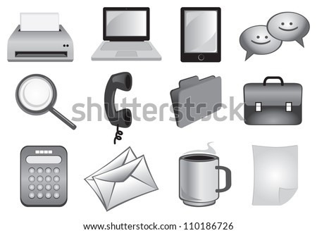 Business and office icons set in grey colors