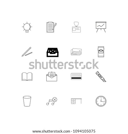 Business And Office linear thin icons set. Outlined simple vector icons #1094105075