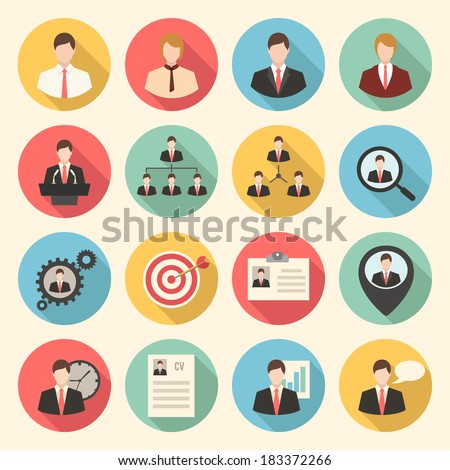 Business and office people, management, human resources colorful flat design icons set. template elements for web and mobile applications